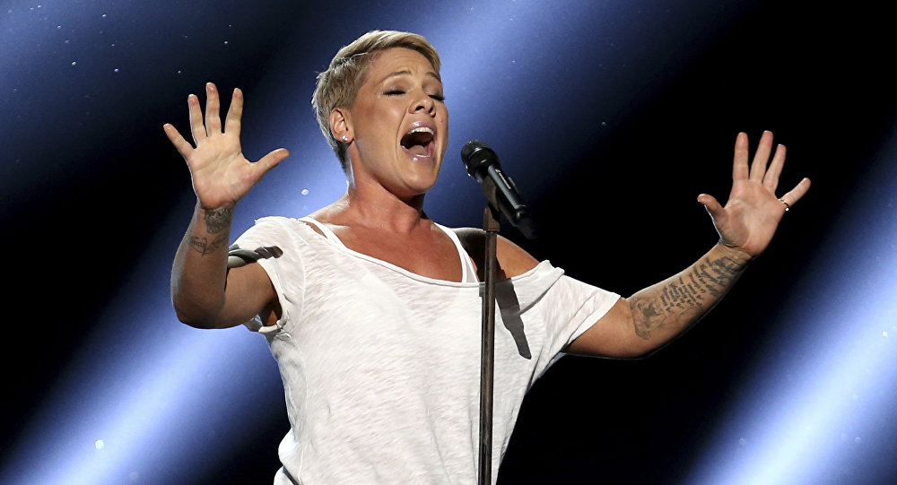 Pink performs Wild Hearts Can't Be Broken at the 60th annual Grammy Awards at Madison Square Garden on Sunday, Jan. 28, 2018, in New York
