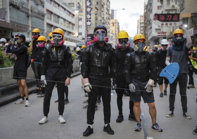 Manifestants à Hong Kong, le 11 août