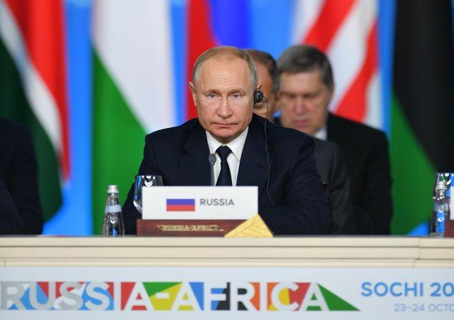 Vladimir Poutine lors de la deuxième session plénière du sommet Russie-Afrique à Sotchi
