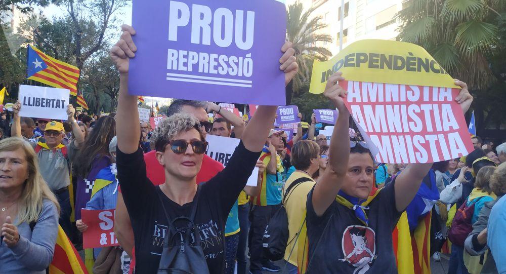 Des manifestants à Barcelone