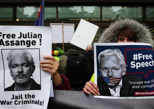 Manifestants avec des affiches réclamant la libération de Julian Assange