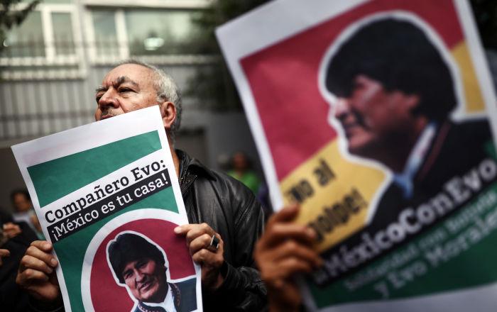 Les partisans du Président bolivien à Mexico