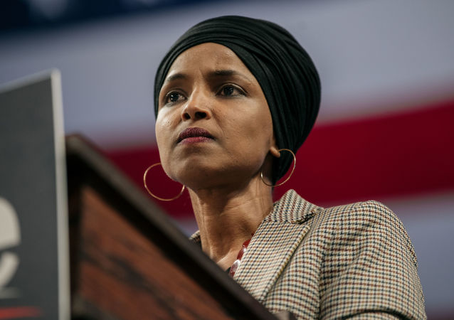 MINNEAPOLIS, MN - NOVEMBER 03: Representative Ilhan Omar (D-MN) speaks at a campaign rally for Senator (I-VT) and presidential candidate Bernie Sanders at the University of Minnesotas Williams Arena on November, 3, 2019 in Minneapolis, Minnesota. Before introducing him, Rep. Omar praised Sanders for his support of unions, comprehensive immigration reform, and support for refugees.   Scott Heins/Getty Images/AFP