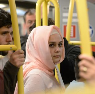 Une femme en hijab à Vienne