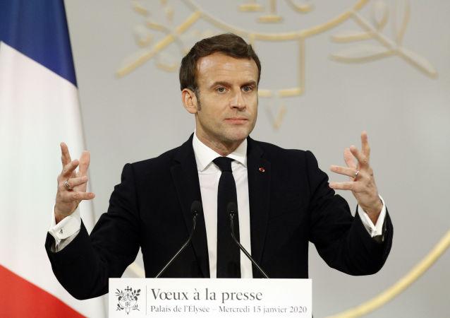 Emmanuel Macron, lors des voeux adressés à la presse, le 15 janvier 2020