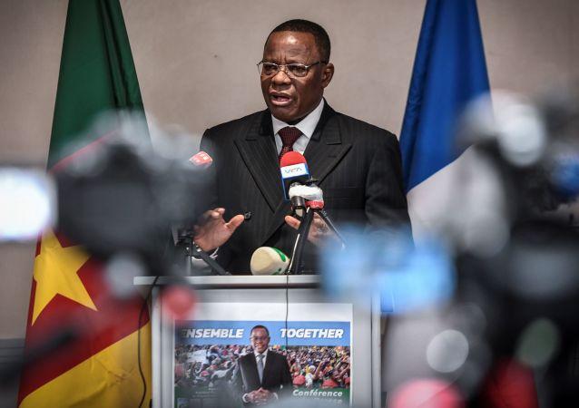 Maurice Kamto, lors de la conférence de presse qu'il a donnée à Paris le 30 janvier 2020.