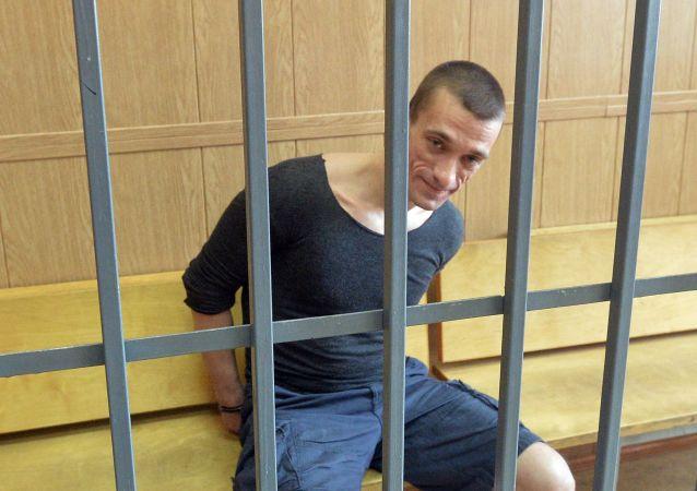 Pavlenski lors de son jugement à Moscou