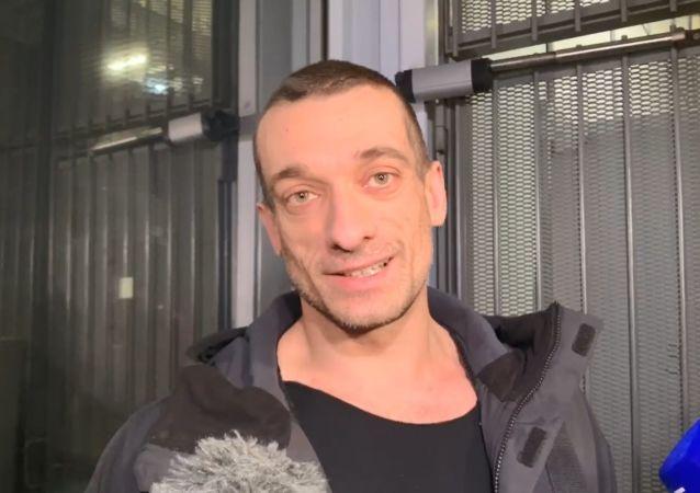 Piotr Pavlenski à la sortie du palais de justice, 18 février 2020