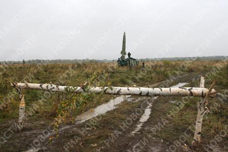 Пуск ракеты Точка на полигоне в Калининградской области