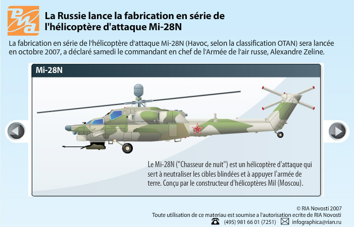 La Russie lance la fabrication en série de l'hélicoptére d'attaque Mi-28N