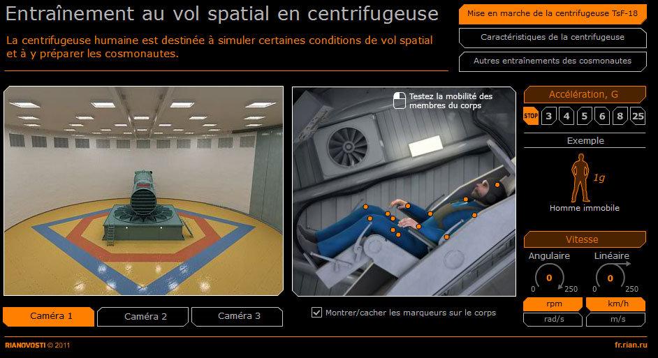 Entraînement au vol spatial en centrifugeuse
