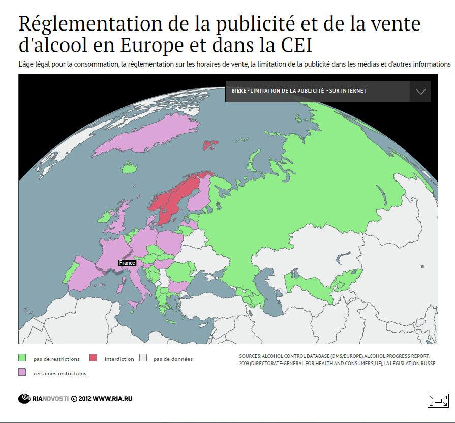 Réglementation de la publicité et de la vente d'alcool en Europe et dans la CEI