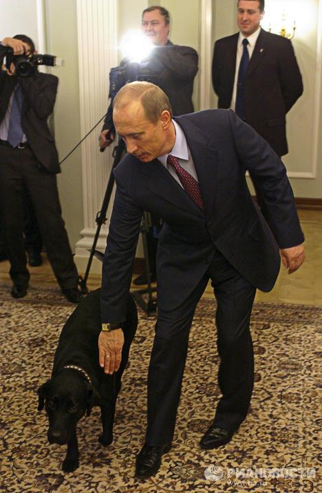 Владимир Путин со своей собакой Кони в Ново-Огарево