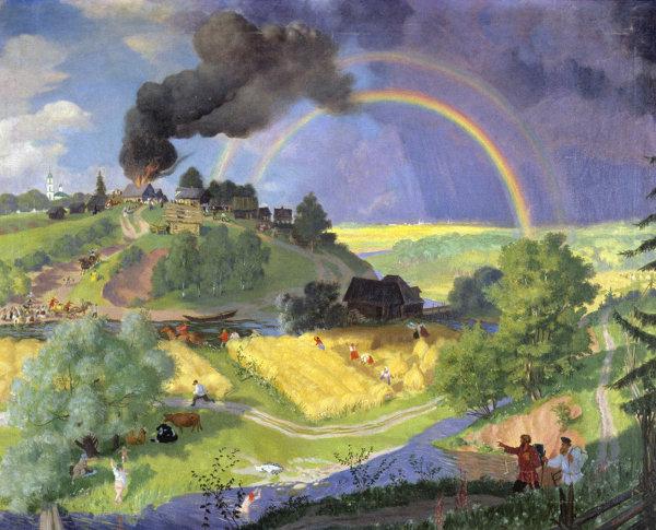 Репродукция картины Б. М. Кустодиева После грозы