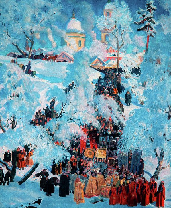 Картина Б.Кустодиева Крестный ход в деревне