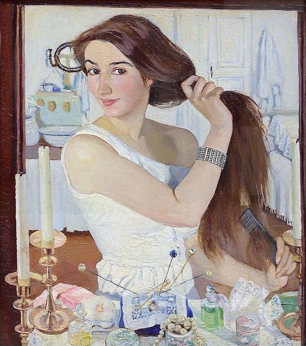 Картина З.Е. Серебряковой «За туалетом» (1909)