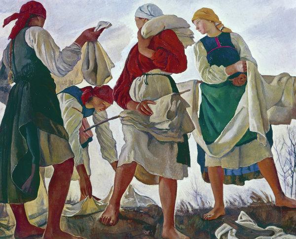 Картина Зинаиды Евгеньевны Серебряковой Беление холста