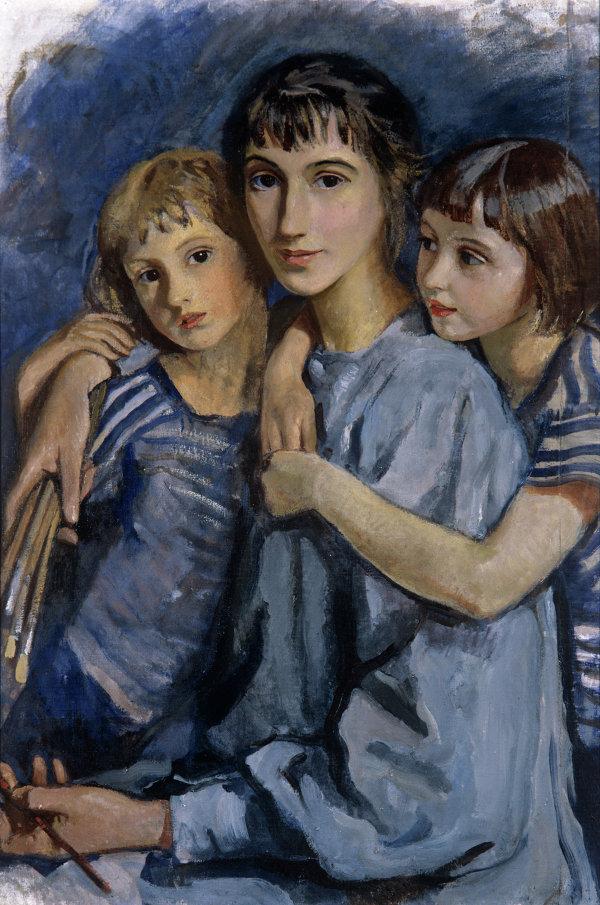 Репродукция картины работы художницы З.Е.Серебряковой Автопортрет с дочерьми
