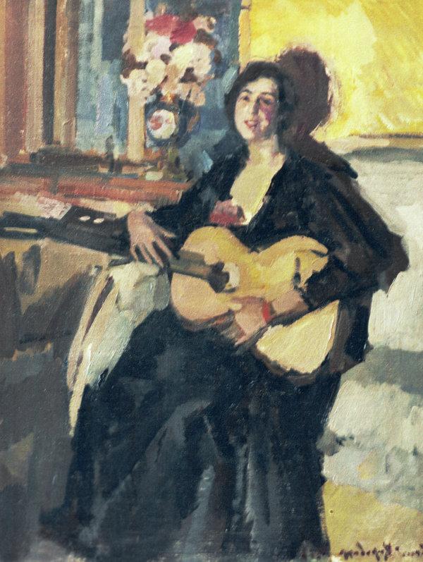 Картина художника Коровина Дама с гитарой