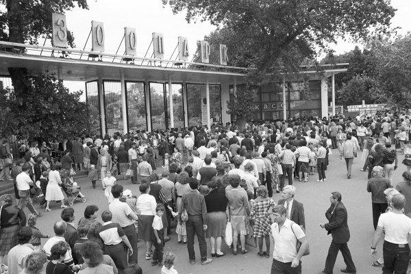 У входа в Московский зоопарк