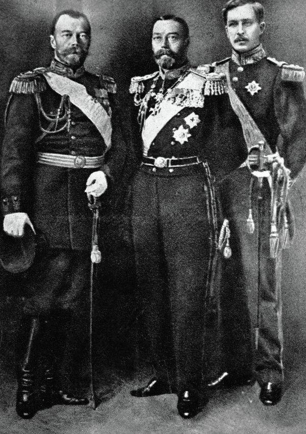 Император России Николай II, Король Англии Георг V и Король Бельгии Альберт