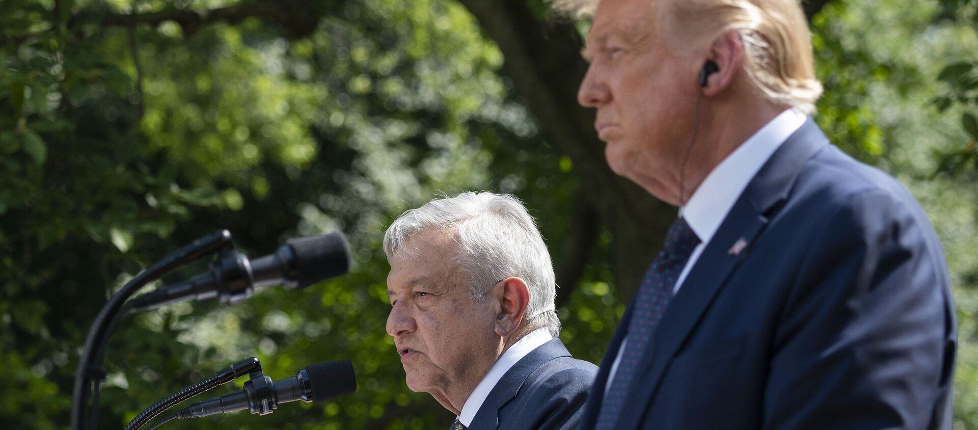 Donald Trump et son homologue mexicain Andrès Manuel López Obrador à la Maison-Blanche, 8 juillet 2020 - Sputnik France, 1920, 09.07.2020