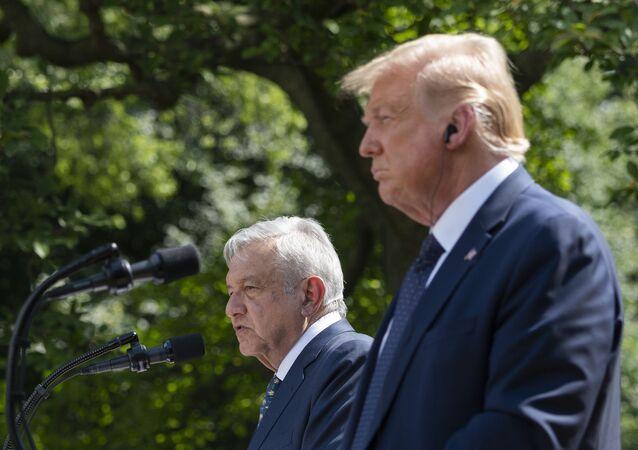 Donald Trump et son homologue mexicain Andrès Manuel López Obrador à la Maison-Blanche, 8 juillet 2020