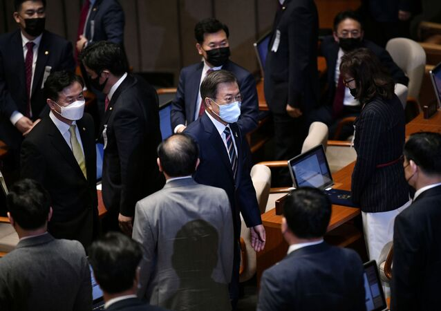 Moon Jae-in à l'Assemblée nationale le 16 juillet 2020