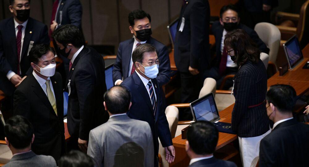 Moon Jae-in à l'Assemblée nationale le 16 juillet 2020