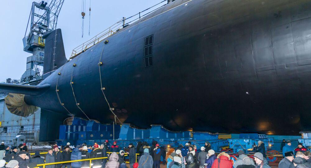 La cérémonie de mise à l'eau d'un sous-marin du projet Iassen-M à Severodvinsk (archive photo)