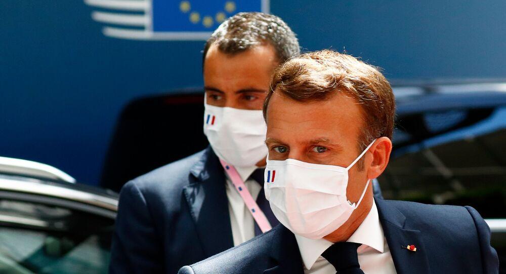 Emmanuel Macron à Bruxelles pour le Conseil européen, 20 juillet 2020