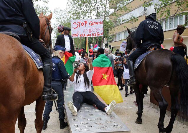 Des activistes de la BAS (Brigade anti-sardinards) manifestent à Bruxelles.