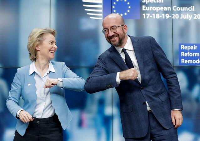 Ursula von der Leyen et Charles Michel au terme du Conseil européen à Bruxelles, le 21 juillet 2020
