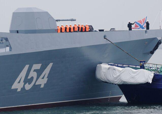 Un navire de la classe de frégates Amiral Gorchkov, dont l'un a été utilisé pour mener des essais du nouveau missile hypersonique Zircon (image d'illustration)