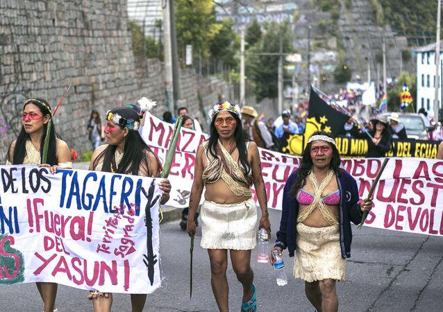 Manifestation de femmes Huaorani en Équateur, décembre 2017 (image d'illustration)