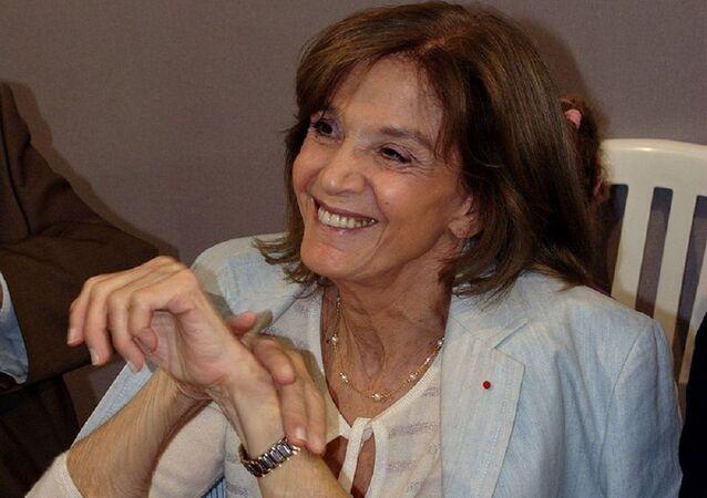 Gisèle Halimi, une avocate franco-tunisienne, militante féministe et essayiste à la Fête de l'Humanité 2008