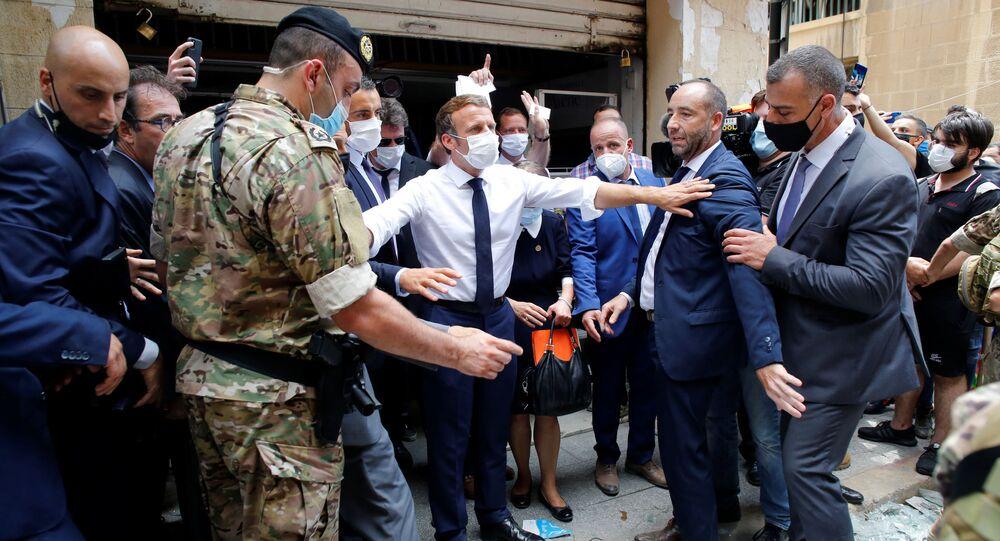 Emmanuel Macron en visite à Beyrouth, 6 août 2020