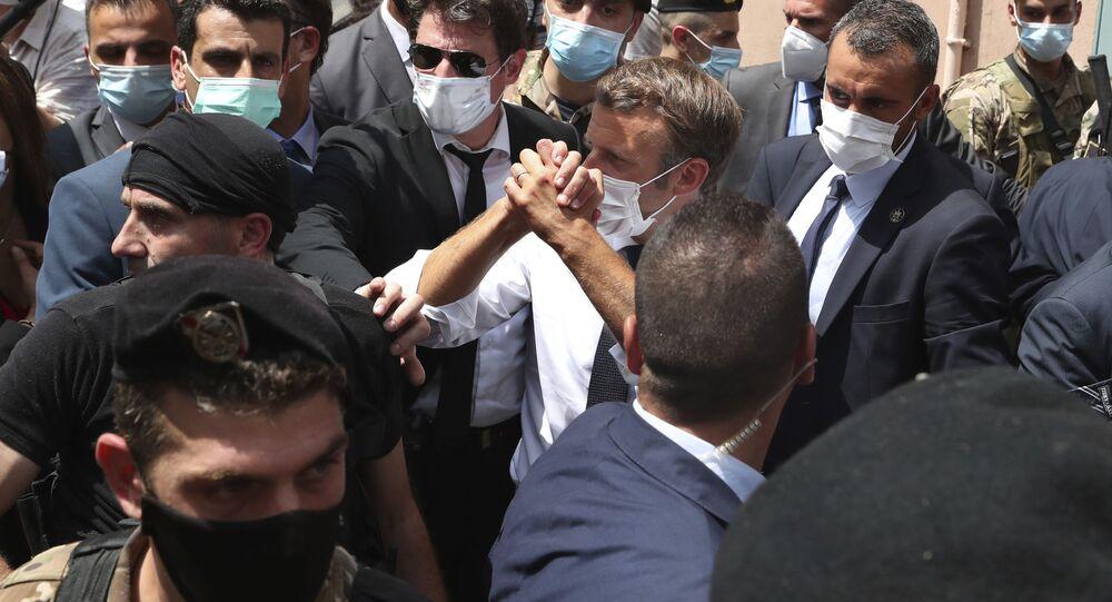 Emmanuel Macron lors de sa visite à Beyrouth, 6 août 2020