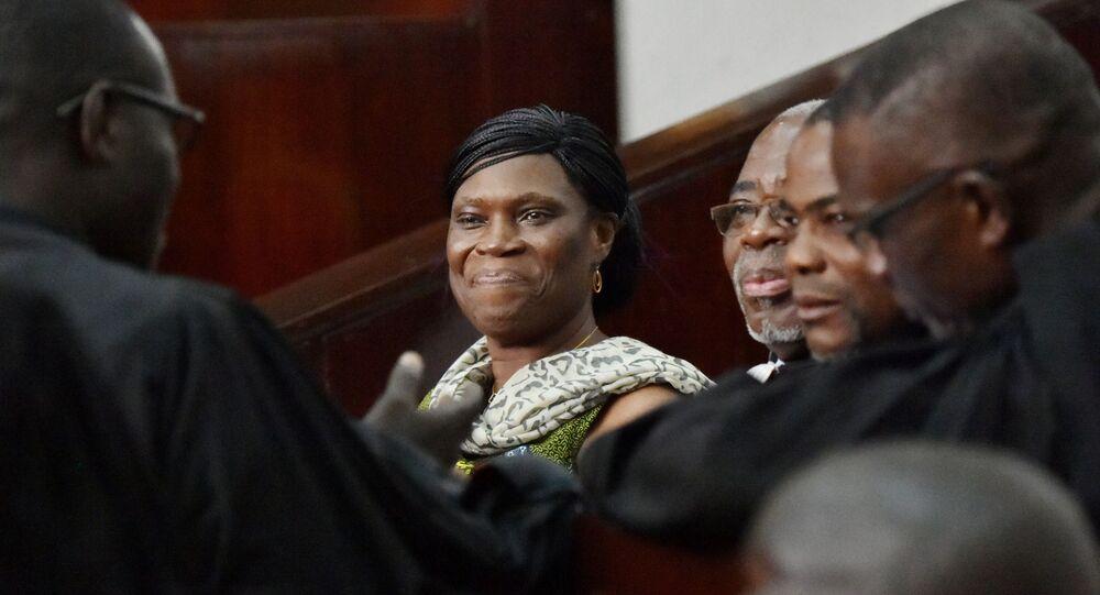 Simone Gbagbo lors de son procès à Abidjan en 2016.