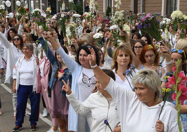 Une manifestation à Minsk après la présidentielle biélorusse (13 août 2020)
