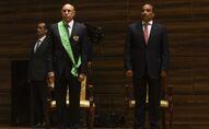 Le nouveau Président mauritanien Mohamed Ould Cheikh El Ghazouani et le Président sortant Mohamed Ould Abdel Aziz