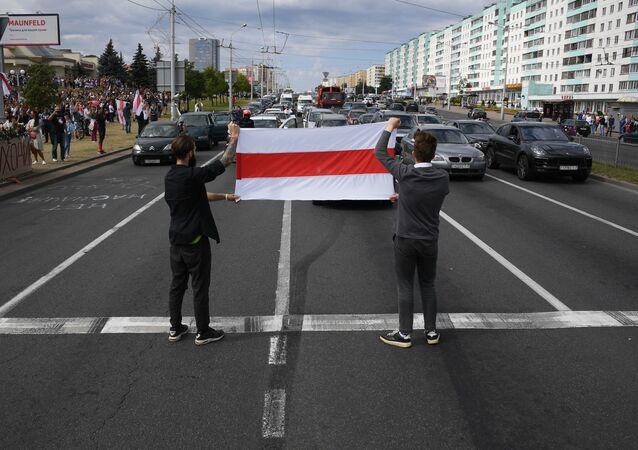 Manifestation près du métro Pouchkinskaïa à Minsk