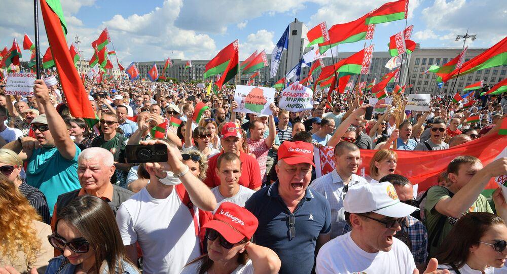 Le rassemblement de soutien à Alexandre Loukachenko à Minsk, le 16 août 2020