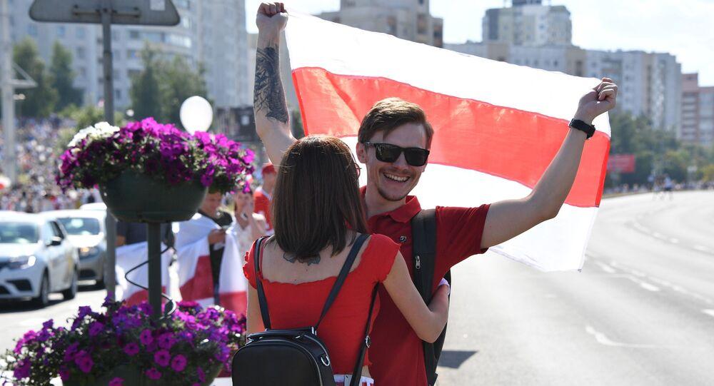 Participants à une marche de protestation, le 16 août 2020