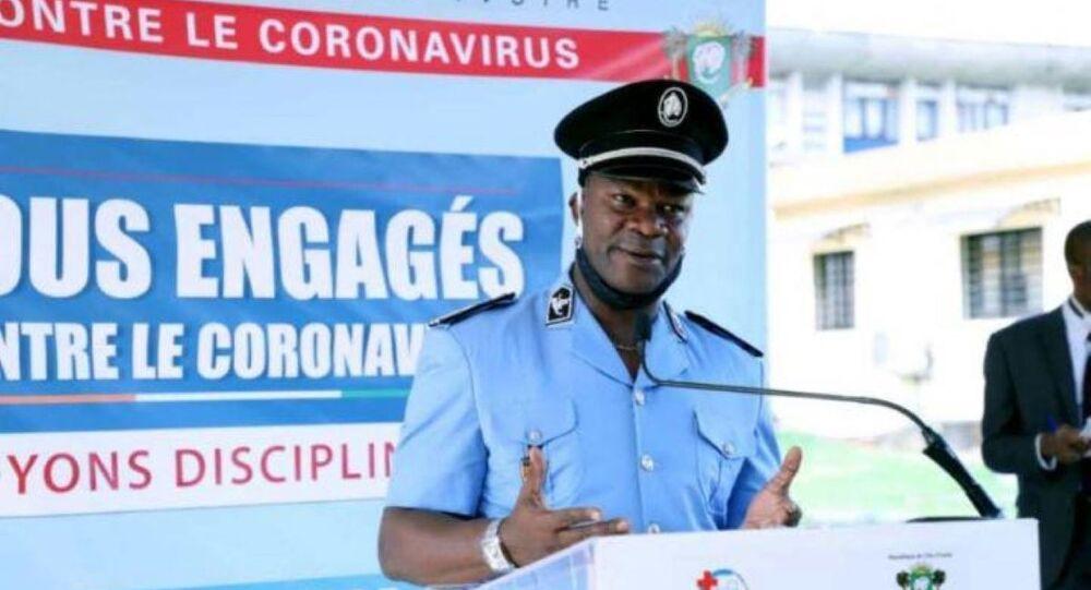 Le porte-parole de la police nationale ivoirienne, le commissaire Bleu Charlemagne.