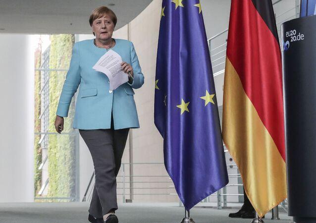 Angela Merkel à l'issue du sommet européen le 19 août