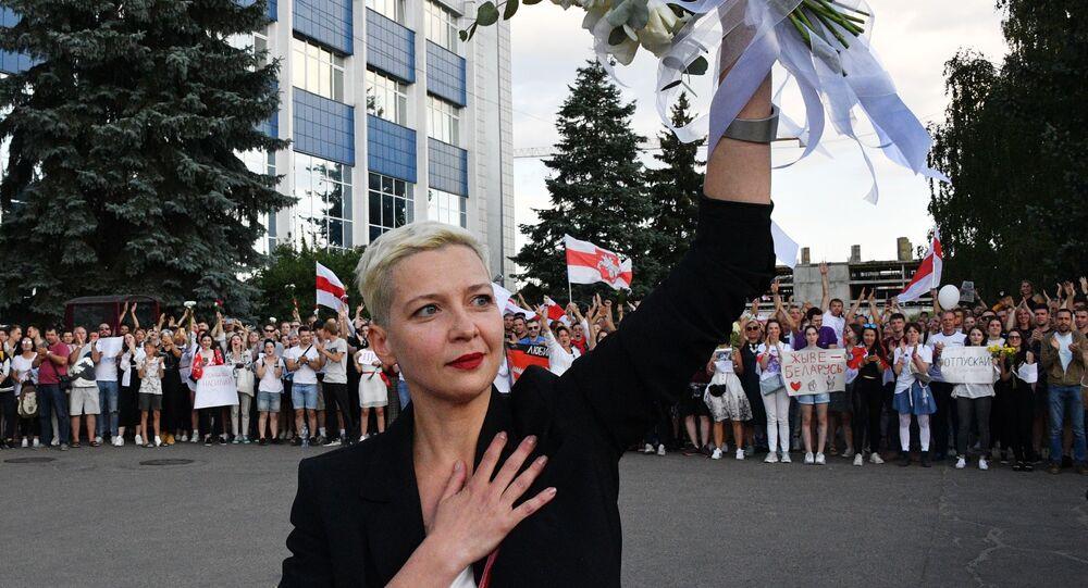 Maria Kolesnikova lors des manifestations à Minsk, le 15 août