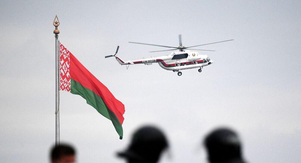 Hélicoptère avec Alexandre Loukachenko à son bord, le 23 août
