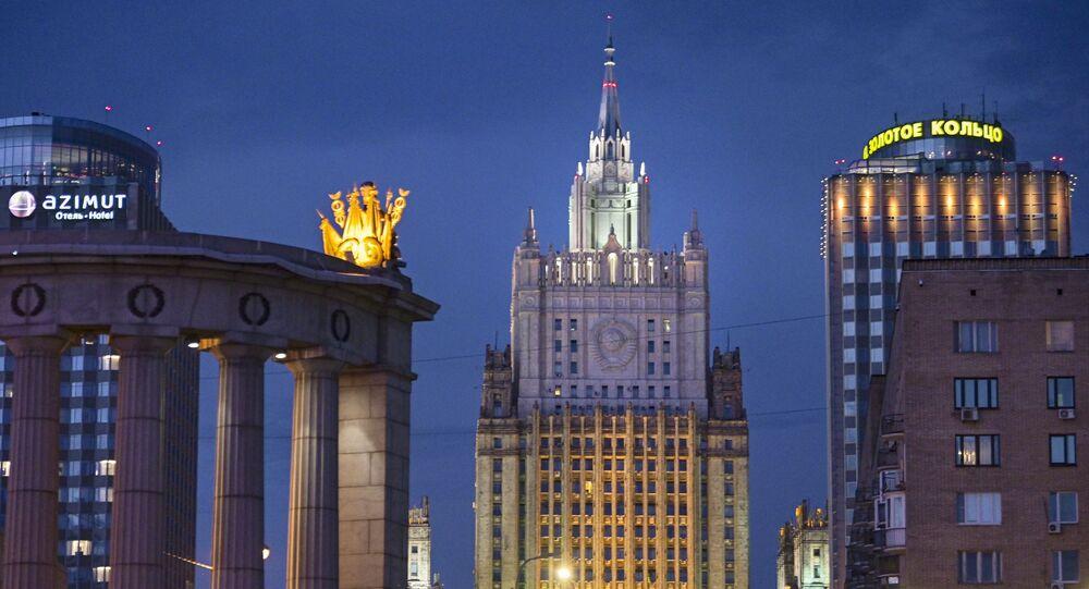 Vue sur le ministère russe des Affaires étrangères