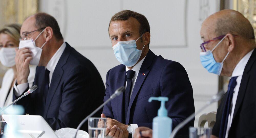 Jean Castex, Emmanuel Macron et Jean-Yves le Drian, Palais de l'Élysée, 26 août 2020 (image d'illustration)